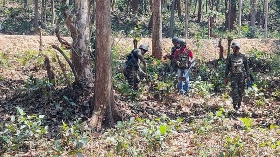 Indo-Tibetan Border Police (ITBP) personnel recovered 2 Improvised Explosive Devices (1 pressure cooker and 1 pipe type) placed in a series manner near Dhanora, Narayanpur on Tuesday. (ANI photo)