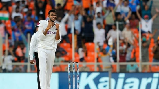 Axar Patel celebrates the dismissal during day one of the 3rd Test Match against England in Ahmedabad(BCCI/Twitter)