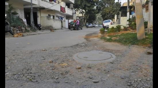 An internal road in a bad shape in Sector 47, Chandigarh. (Keshav Singh/HT)