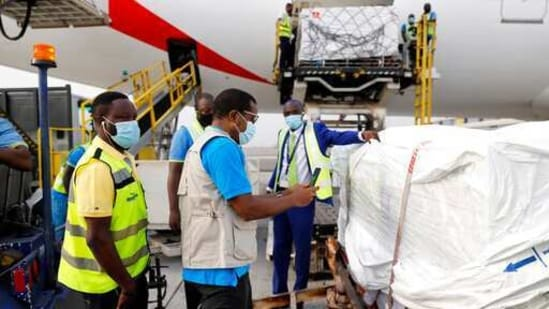This photograph released by UNICEF shows the first shipment of Covid-19 vaccines distributed by the Covax Facility arriving at the Kotoka International Airport in Accra, Ghana. (AP)
