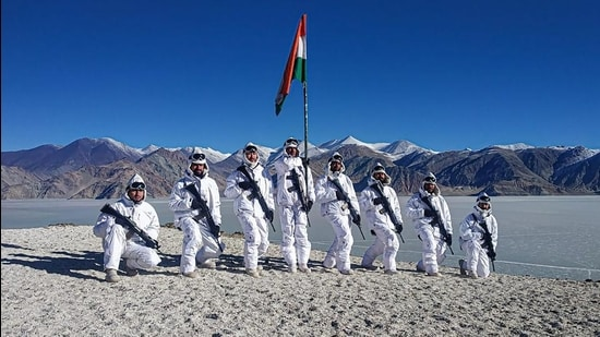 Indo-Tibetan Border Police personnel celebrate Republic Day near the bank of Pangong Tso, in Ladakh. (PTI)