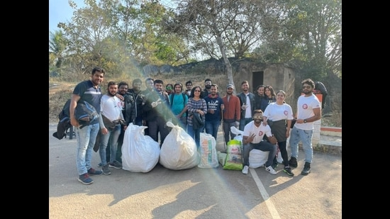 Members of Bikers Troop Bengaluru ride to touristy spots in the city, and clean up those places.