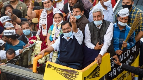 New Delhi: AAP National Convenor and Delhi CM Arvind Kejriwal during a roadshow for MCD by-elections in Shalimar Bagh village, New Delhi, Wednesday, Feb. 24, 2021. (PTI Photo/Shahbaz Khan) (PTI02_24_2021_000146B)(PTI)