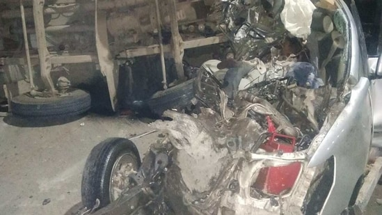 The car was completely crushed on impact(HT Photo)