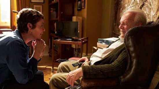 """This image released by Sony Pictures Classics shows Olivia Colman, left, and Anthony Hopkins in a scene from """"The Father.""""(AP)"""