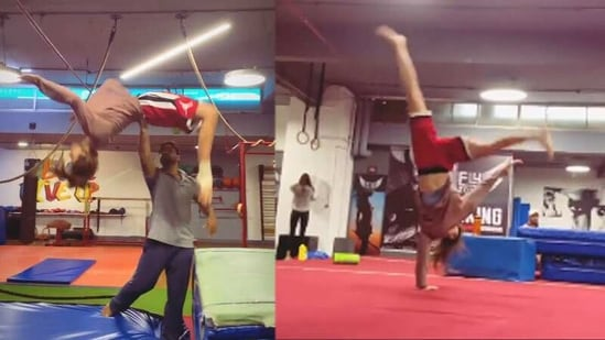 Disha Patani performing gymnastics.