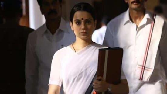 Kangana Ranaut as J Jayalalithaa in Thalaivi.