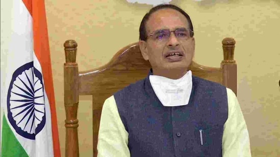 Madhya Pradesh Chief Minister Shivraj Singh Chouhan addresses a press conference through video conferencing.(ANI)