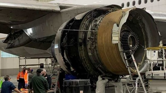 The damaged starboard engine of United Airlines flight 328, a Boeing 777-200, is seen following a February 20 engine failure incident, in a hangar at Denver International Airport in Denver, US.(REUTERS)