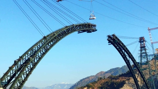 World's highest railway bridge over Chenab river in Reasi district will provide all-weather connectivity.(ANI File Photo)