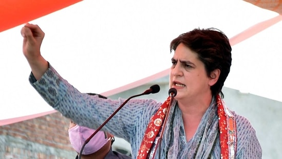 Congress leader Priyanka Gandhi Vadra addresses during a Kisan Panchayat in Mathura in this file photo. She criticized the government over fuel prices. (ANI)