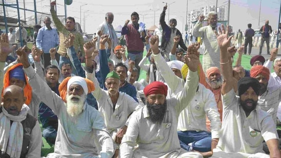 Farmers congregate during the ongoing protest against the new farm laws at Ghazipur (Delhi-UP border) near Ghaziabad, India.