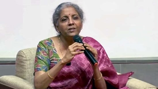 Union finance minister Nirmala Sitharaman at an event in Ahmedabad on Thursday.(ANI Photo)