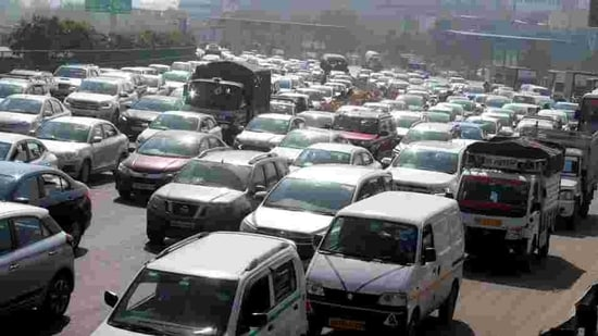 Heavy traffic jam on Gurugram- Delhi border at the expressway, in Gurugram. (File photo)