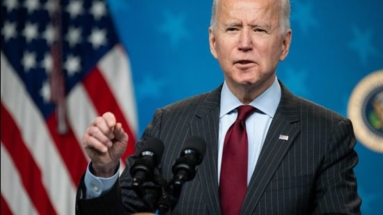 US President Joe Biden speaks about the American Rescue Plan and the Paycheck Protection Program (PPP) for small businesses in response to coronavirus, in the Eisenhower Executive Office Building in Washington, DC, February 22, 2021. (AFP/FILE)