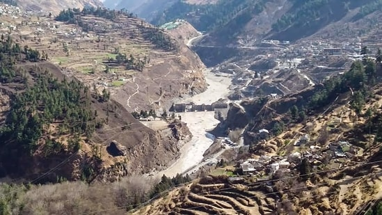 **EDS: BEST QUALITY AVAILABLE, HANDOUT IMAGE MADE AVAILABLE FROM ITBP** Chamoli: Damaged dam of the Rishi Ganga Power Project, after a glacier broke off in Joshimath in Uttarakhand�s Chamoli district causing a massive flood in the Dhauli Ganga river, Sunday, Feb. 7, 2021. More than 150 labourers working at the Rishi Ganga power project may have been directly affected. (PTI Photo)(PTI02_07_2021_000055B)(PTI)