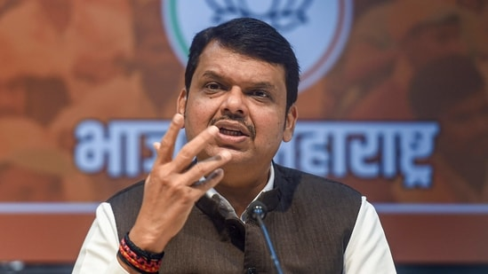 Maharashtra opposition leader and former CM Devendra Fadnavis addresses a press conference in Mumbai, (PTI)