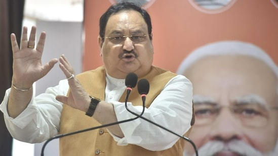 BJP national president JP Nadda speaks during the launch of 'Lokkho Sonar Bangla' campaign, at the state BJP election office in Kolkata on Thursday. (PTI PHOTO).