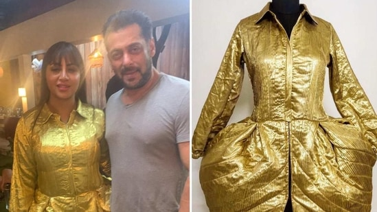 Arshi Khan with Salman Khan at the Bigg Boss 14 after-party.