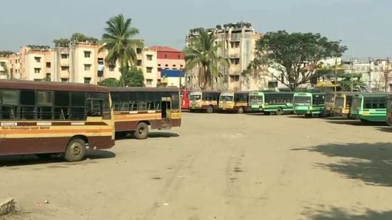 Around 50 per cent of the buses are operating with temporary drivers and Anna Trade Union drivers.(ANI)
