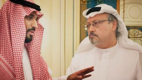 """This image released by Briarcliff Entertainment shows Saudi Crown Prince Mohammed bin Salman, left, with journalist Jamal Khashoggi in a scene from the documentary """"The Dissident.""""(AP)"""