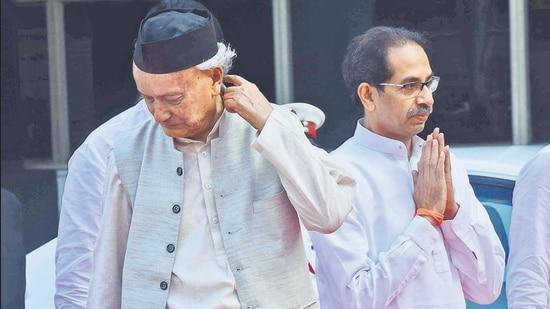 CM Uddhav Thackeray (right) and Governor Bhagat Singh Koshyari at Vidhan Bhavan. (HT FILE)