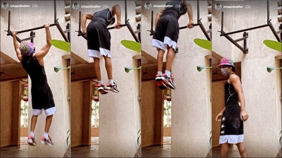 Ishaan Khatter pulling up on a bar outside a building is coolest fitness move(Instagram/ishaankhatter)