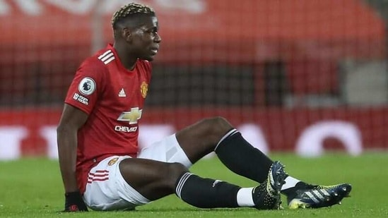 Manchester United's Paul Pogba after sustaining an injury (Pool via REUTERS)
