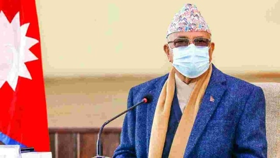 The meeting was held at the Prime Minister's official residence in Baluwatar. In picture - Nepal Prime Minister KP Sharma Oli.(HT Photo)