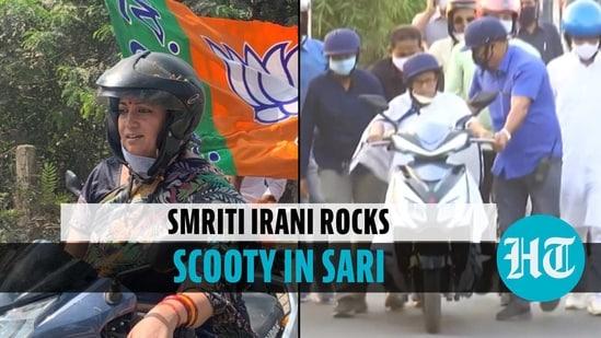 After Mamata Banerjee, Smriti Irani rides scooty during roadshow in Bengal