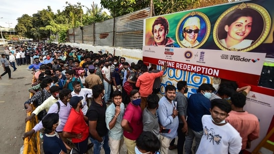 Chennai: Cricket fans throng to buy online redemption tickets to watch the 2nd test match between India vs England, starting from Feb 13th to 17th at MAC Stadium, in Chennai, Thursday, Feb. 11, 2021. The Tamil Nadu government has allowed the stadium to be filled to 50% capacity for the second test match. (PTI Photo/R Senthil Kumar)(PTI02_11_2021_000301B)(PTI)