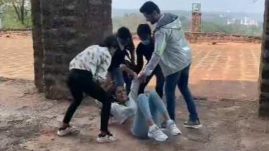 Priya Prakash Varrier falls on her back in a BTS video from her movie Check.