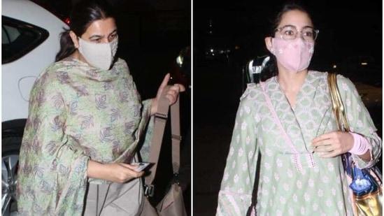 Sara Ali Khan and Amrita Singh at the airport.(Varinder Chawla)
