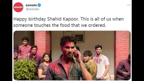 Zomato shared a Kabir Singh inspired birthday wish for Shahid Kapoor.(Twitter/@zomato)