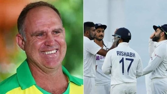 Former Australian opener Matthew Hayden (L), Indian Cricket Team (R)(HT Collage)