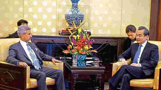 External affairs minister (EAM) S Jaishankar and his Chinese counterpart Wang Yi are seen in this photo.(HT Photo)