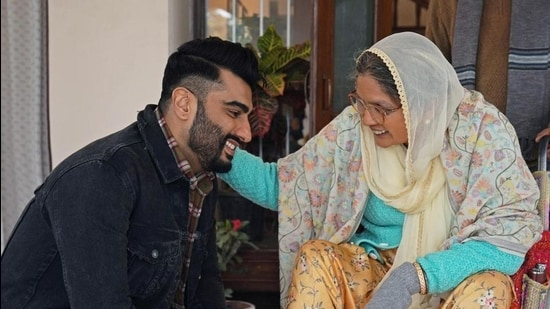 Actors Neena Gupta and Arjun Kapoor in a still from Sardar Ka Grandson that is set for a summer release on Netflix.