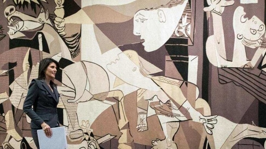 "The painting ""Guernica"", considered one of Picasso's masterpieces and by many art critics as perhaps the most powerful anti-war painting in history, hangs in the Museo Reina Sofía in Madrid.(AP)"