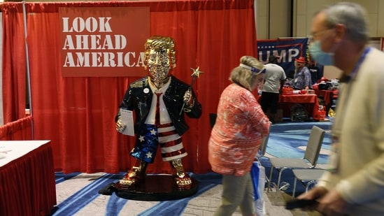 A gold statue of former President Donald Trump is on display at the Conservative Political Action Conference being held in the Hyatt Regency on February 26, 2021 in Orlando, Florida.(AFP)