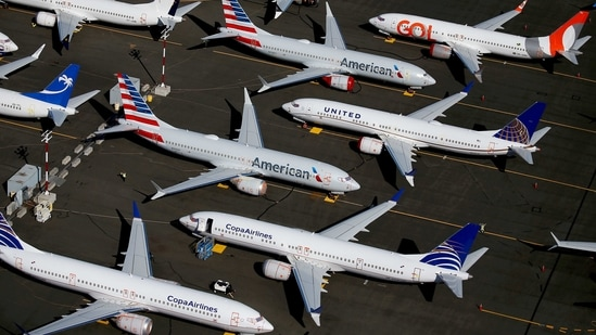 Grounded Boeing 737 MAX aircraft are seen parked in an aerial photo at Boeing Field in Seattle, Washington, US in this file photo from 2019. (REUTERS)