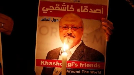 FILE PHOTO: A demonstrator holds a poster with a picture of Saudi journalist Jamal Khashoggi outside the Saudi Arabia consulate in Istanbul, Turkey October 25, 2018. REUTERS/Osman Orsal(REUTERS)
