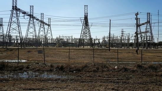 An electrical substation is seen after winter weather caused electricity blackouts in Houston, Texas, US.(Reuters)
