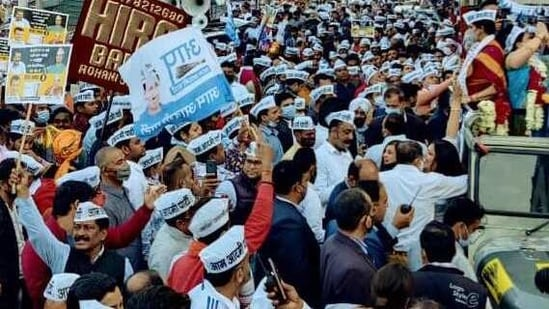 Crowd during the roadshow of Delhi Chief Minister Arvind Kejriwal in Shalimar Bagh area ahead of byelections in five wards of North MCD and East MCD in New Delhi on Wednesday. (ANI Photo)