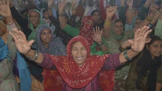 Demonstrators at Ghazipur border as the farmers' protest against new farm laws continues, in New Delhi.