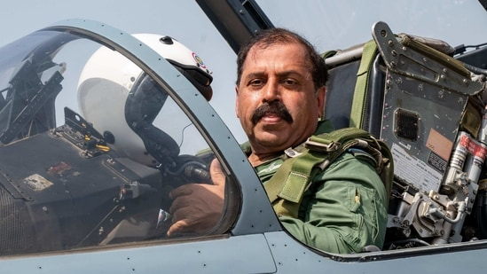 Indian Air Force Chief RKS Bhadauria flew in an upgraded Mirage-2000 fighter aircraft during the multi-aircraft sortie to commemorate the second anniversary of the Balakot Operations. (ANI Photo)