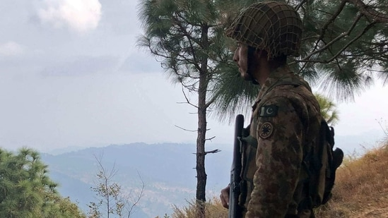 The army claimed it has cleared the mountainous region of terrorists following several operations to eliminate the TTP. In this file picture, a Pakistan's army soldier stands guard on the Line of Control (LoC) at Abdullah Pur village in Bhimber district. (AFP)