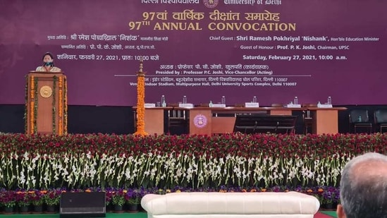 Owing to the COVID-19 pandemic, the 97th convocation ceremony of DU was conducted in a hybrid manner -- a mix of both online and physical mode.(Handout image)