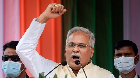 Kamrup: Chhattisgarh Chief Minister Bhupesh Baghel addresses an election rally, at Sontoli village in Kamrup district, Wednesday, Feb. 17, 2021. (PTI Photo)(PTI02_17_2021_000170B)(PTI)