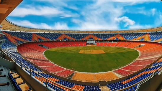 **EDS: TWITTER IMAGE POSTED BY @pib on MONDAY, FEB. 22., 2021** Ahmedabad: View of worlds largest cricket stadium, the Motera Stadium, ahead of its inauguration on Feb. 24, in Ahmedabad. (PTI Photo)(PTI02_22_2021_000246B)(PTI)