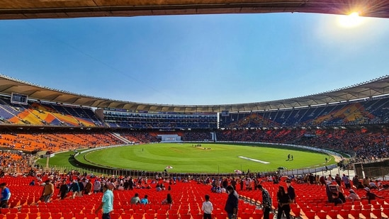 Ahmedabad: A general view of the newly named Narendra Modi Stadium on the first day of the 3rd cricket test match between India and England, in Ahmedabad(PTI)